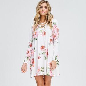 Cross Front Floral Long-Sleeve Dress